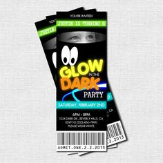 GLOW IN THE DARK Birthday Party Ticket Invitations
