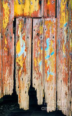 Old painted door. Different colors show the age.