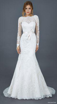 atelier eme 2016 paola long sleeve alencon lace trumpet mermaid wedding dress illusion neckline