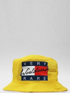 Very Rare Tommy Hilfiger Supreme Worldwide Yellow Bucket Hat Medium #TommyHilfiger #Bucket