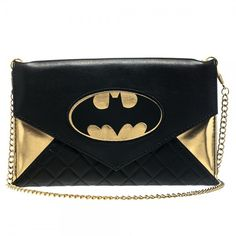 DC Comics Batman Quilted Black & Gold Envelope Wallet Purse with Chain. Black and Gold Batman Envelope Wallet. Includes chain long enough to wear as a cross-body purse. Licensed by DC Comics. Batman Wonder Woman, Batman Love, Wallet Chain, Clutch Wallet, Superman, Batman Batman, Batman Stuff, Batman Bag, Harley Quinn
