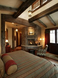 Mountain Homes Design - Wood Beams - and fireplace