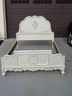 Many antique furniture pieces here. Vintage French Provincial Bed Rococo Style by ProvincialbutFrench, $899.00