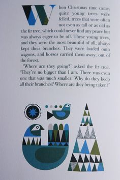 "illustrations of a birds in ""The Fir Tree"" a book illustrated by Sanna Annuka"