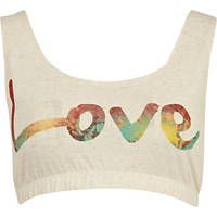 beige love print bra top from River Island.lovely with High Waisted shorts! Festival Outfits, Festival Fashion, River Island Fashion, Cool Tanks, Bandeau Top, Bra Tops, High Waisted Shorts, Denim Shirt, Boy Or Girl