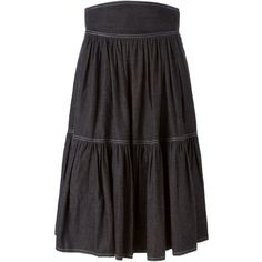 Céline Vintage Flared Skirt ($334) ❤ liked on Polyvore featuring skirts, black, flared skirt, high waisted skirts, black circle skirt, black flared skirt and skater skirt