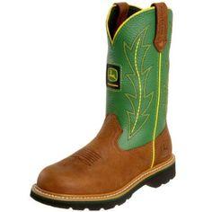 John Deere Women`s Wellington JD3286 Boot,Tan/Green,8.5 W US $123.95