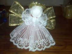 Ribbon, Lace and Tulle Angel.maybe to be used as a tree topper? Angel Crafts, Christmas Projects, Holiday Crafts, July Crafts, Patriotic Crafts, Patriotic Party, Diy Angels, Handmade Angels, Handmade Christmas