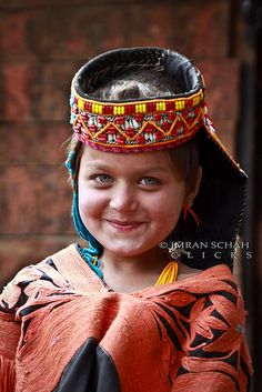 smile of a Kalash girl (Pakistan). Last descendants of Alexander the Great