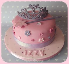 Princess tiara and wand cake - Tiara and wand cake complete with flowers, diamantes and sparkles x