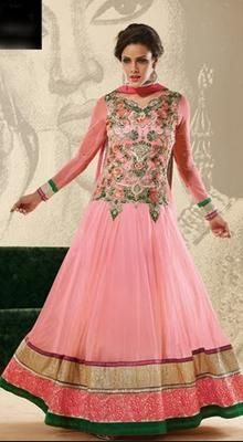 Pink Georgette Ankle Length Anarkali Suit
