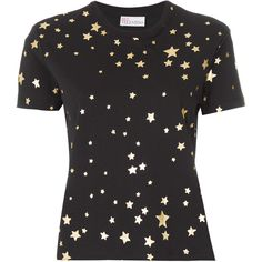 Red Valentino Star Print T-shirt ($175) ❤ liked on Polyvore featuring tops, t-shirts, red valentino top, star t shirt, red valentino, star print t shirt and star print top