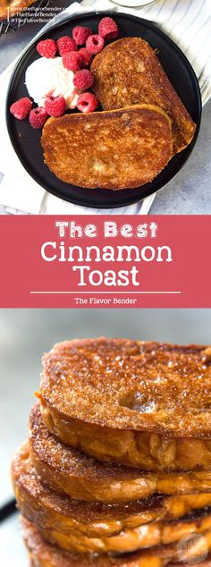 The Best Cinnamon Toast Ever! (Creme Brulee Toast) – The Flavor Bender Best Cinnamon Toast – Sweet, crunchy, salty and delicious cinnamon toast with a crunchy, caramelized surface like Creme Brulee! Perfect for dessert or breakfast! Pavlova, Breakfast Dishes, Breakfast Dessert, Breakfast Toast, Breakfast Casserole, Breakfast Kids, Appetizer Dessert, School Breakfast, Brunch Recipes