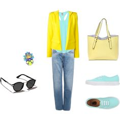 Yellow and blue by gabriela-kiteva on Polyvore featuring Victoria's Secret PINK, Alexandre Vauthier, Acne Studios, Vans and Abercrombie & Fitch