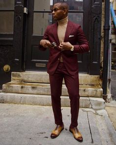 Burgundy X Gold perfect outfit combo who agrees? Credit: #Repost @mensstylepro by @sight.beyond.sound . What To Rock Right Now?! A burgundy suit a fine gauge turtleneck sweater for some 70's swagger . #MensStylePro #menswear #mensstyle #mensstylepro #mensfashion #gqreport #style #fashion #paulevans #oliverwicks #hm #philly #phillystyle #eyebuydirect #Timex #fashionblogger #menstyle #menshoes #alexandercaineuk #fashion #dapper #dapperlooks #suits #menwithstyle #mensweardaily #menswear