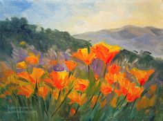Miniature Oil Paintings | California poppy parade miniature oil painting 6 x 8 inches by ...