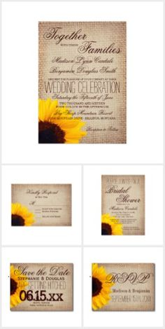Burlap and Sunflower Wedding Invitation Set.  Mix and Match Items.  40% OFF the invitation price when you order 100+ invites. #wedding