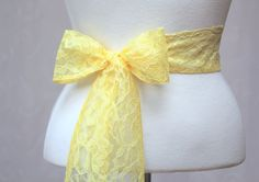 Yellow Lace Wedding Simple Sash/ Handmade Accessory/ by SunnyApril, $15.00
