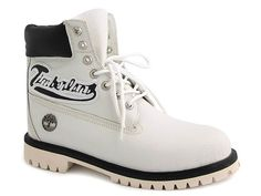 White/Black Timberland 6 Inch Boots Mens