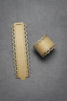 Napkin Rings  - die cut card stock 1.75in wide and when rolled up the diameter is 2.25in.