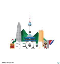 Travel Illustration, Graphic Illustration, Korea Logo, Diy Agenda, Korea Wallpaper, Korea Design, South Korea Seoul, Action Painting, Korean Art