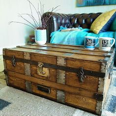 Pine Chests, Trunks And Chests, Storage Trunk, Storage Chest, Trunk Redo, Vintage Steamer Trunk, Retro Coffee Tables, Vintage Trunks, Blanket Box