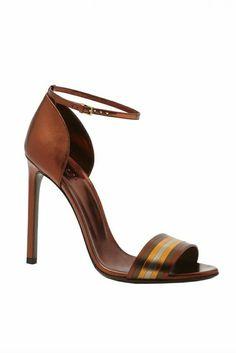 Gucchi sandales à talons en cuir marron