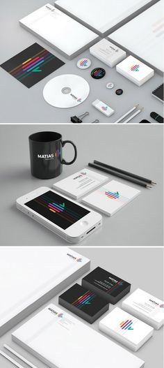 Editorial Layout Branding Identity  Very Sleek and well presented. Each item has their logo on and the rest just plain space which makes the pieces look very sleek.