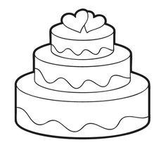 Ausmalbild Hochzeit und Liebe: Kostenlose Malvorlage: Hochzeitstorte kostenlos ausdrucken