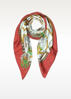 MOSCHINO BOUTIQUE MOSCHINO GEESE & HORSE SADDLES PRINTED TWILL SILK SQUARE SCARF. #moschino #boutique moschino geese & horse saddles printed tw