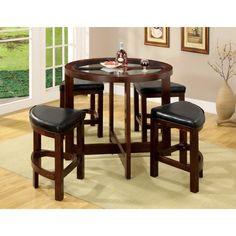 5 Piece Glass Table Top Circle Dining Table Set Wood/Dark Walnut - Furniture of America, Dark Brown Round Counter Height Table, Circle Dining Table, Round Glass Table Top, Round Dining Set, Pub Table Sets, 5 Piece Dining Set, A Table, Game Tables, Patio Bar Set