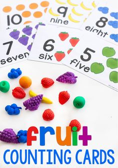 This free printable fruit counting activity for preschool is a fun game for kids to learn numbers and counting. Use fruit math manipulatives to count to 10 with these interactive cards for math centers. Preschool Food, Numbers Preschool, Free Preschool, Free Math, Preschool Class, Kindergarten Math, Lesson Plans For Toddlers, Preschool Lesson Plans, Counting Activities For Preschoolers