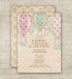 Hot Air BALLOON BABY SHOWER Invitations Custom Diy Printable Vintage  Pastels Gender Neutral   89455058