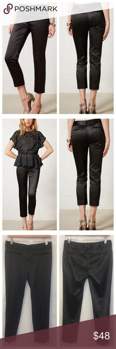 "Anthropologie Cartonnier Satin Charlie Ankle Pants NWOT Anthropologie Cartonnier Black Satin Charlie Ankle Trouser Pants  • With an impeccable curve hugging fit, and a cropped length that complements girls of any stature, this pair from Cartonnier goes from tomboy to flat out femme.  • Sz 4 • 97% polyester 3% spandex • Zipper fly w/ 2 fabric covered button closure • 2 back pockets, 2 front pockets (sewn closed) • Measured flat •  Belt loops  • 15.5"" waist •  8.5"" rise  • 34.5"" total length •…"
