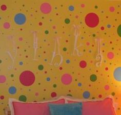 Polka Dot Wall Decals for Kids Rooms Polka Dot Bedroom, Polka Dot Walls, Polka Dot Wall Decals, Kids Wall Decals, Pink Polka Dots, Wall Stickers, Yellow Walls, Wall Colors, Playroom