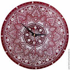 """Купить Мандала """"Рождество"""" часы настенные интерьерные - ярко-красный, часы, часы интерьерные"""