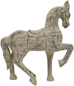 Distressed Wood Horse Figurine