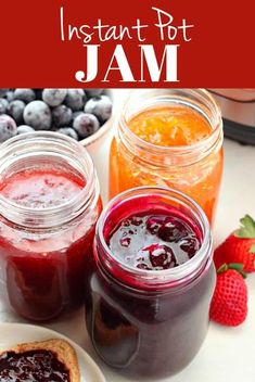 This Instant Pot Jam can be made with fresh or frozen fruit, like strawberries, blueberries, peaches, apricots and others. No pectin needed! Strawberry Jam With Pectin, Fruit Jam, Strawberry Jam Recipes, Strawberry Blueberry Jam, Fruit Preserves, Best Instant Pot Recipe, Instant Pot Dinner Recipes, Jelly Recipes, Fruit Recipes