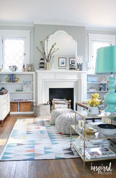 Gray and Turquoise Living Room | Spring Living Room / spring decorating inspiration via /inspiredbycharm/