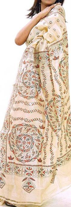 Kantha Stitch saree from Bengal. Traditionally this hand embroidery was done on…