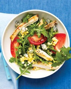 Arugula Salad with Grilled Chicken, Corn, Tomatoes, and Blue Cheese Recipe