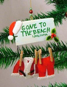 tropical christmas yard art   ... Claus Gone to the Beach Christmas Ornament - Santa Claus Decorations