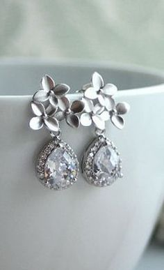 Gorgeous! Silver Cherry Blossoms Earrings. Orchid Flower, Lux Silver Pear Cubic Zirconia Teardrop Ear Post Earrings. Bridesmaid Gifts, Bridal Wedding