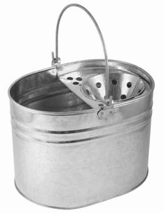 Galvanized steel mop bucket, with wringer. Durable mop bucket. Perfect for use with socket, excel revolution, freedom mini or optima mop heads. Sold individually.