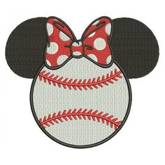 Baseball with bow what looks like Minnie Mouse Ears Filled Machine Embroidery Digitized Pattern- Instant Download - 4x4 ,5x7,6x10 -hoops #Baseball #embdoidery #appliques #ears