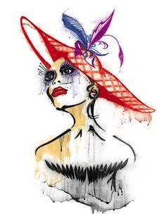 fashion illustration hats | Fashion Hat_RED
