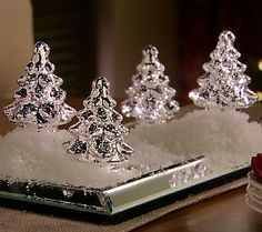 Set of 4 Illuminated Mercury Glass Trees by Valerie — QVC.com