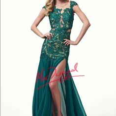 MacDuggal Emerald Green Prom or Pageant Gown NWT New with Tags! Size 0. I think it could fit a 2 as well. The only issue is a small tear in the nude, sheer material by the left shoulder (see pics). It isn't too noticeable and I think can easily be fixed with shoulder alterations. MacDuggal Dresses