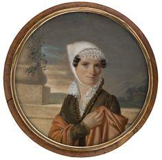 Dame in braunem Kleid vor antikisierender Landschaft Jean Pierre Frédéric Barrois 1811 Aquarell und Gouache auf Elfenbein signiert unten links: Barrois./1811