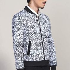 XXXL Geometric bomber jacket for men autumn winter black and white jacket coats